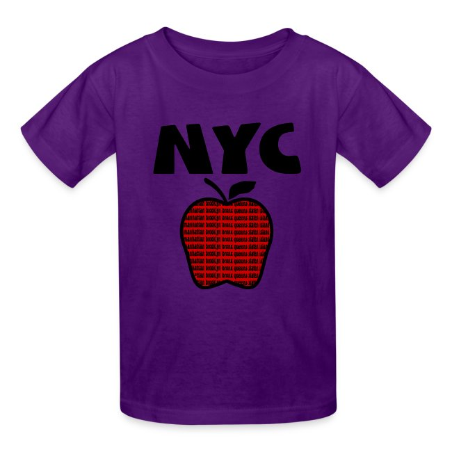 KKT 'NYC, Big Apple With Boroughs, DIGITAL DIRECT' Kids' Tee, White