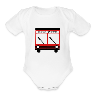 Baby Bodysuits ~ Baby Short Sleeve One Piece ~ KKT 'NY Hybrid Bus, Red' Baby SS One Piece Tee, White