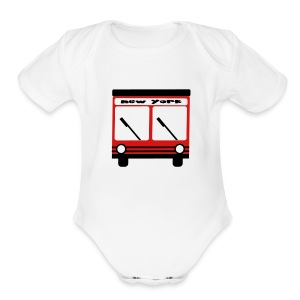 KKT 'NY Hybrid Bus, Red' Baby SS One Piece Tee, White - Short Sleeve Baby Bodysuit