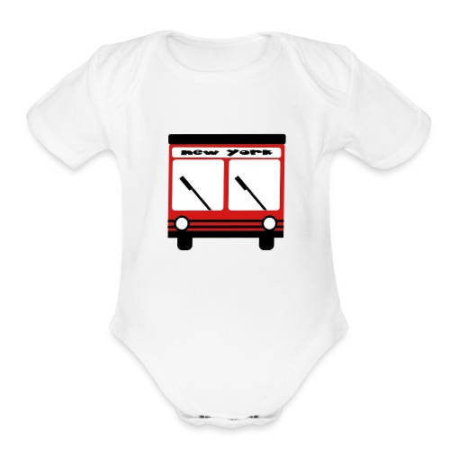 KKT 'NY Hybrid Bus, Red' Baby SS One Piece Tee, White - Organic Short Sleeve Baby Bodysuit