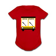 Baby Bodysuits ~ Baby Short Sleeve One Piece ~ KKT 'NY Hybrid Bus, Yellow' Baby SS One Piece Tee, Red