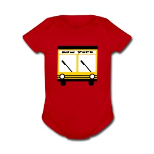 KKT 'NY Hybrid Bus, Yellow' Baby SS One Piece Tee, Red - Short Sleeve Baby Bodysuit