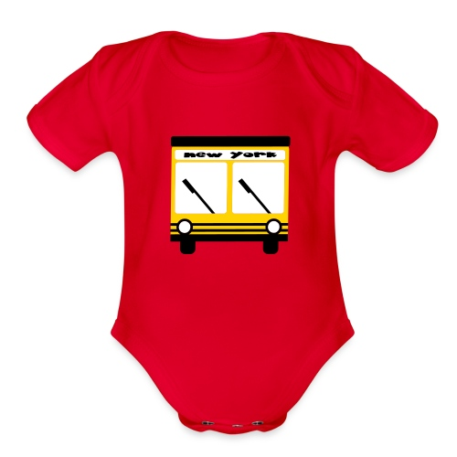 KKT 'NY Hybrid Bus, Yellow' Baby SS One Piece Tee, Red - Organic Short Sleeve Baby Bodysuit
