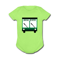 Baby Bodysuits ~ Baby Short Sleeve One Piece ~ KKT 'NY Hybrid Bus, Green' Baby SS One Piece Tee, Mint Green