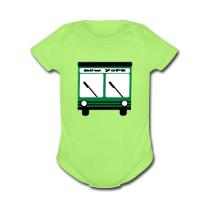 KKT 'NY Hybrid Bus, Green' Baby SS One Piece Tee, Mint Green - Short Sleeve Baby Bodysuit