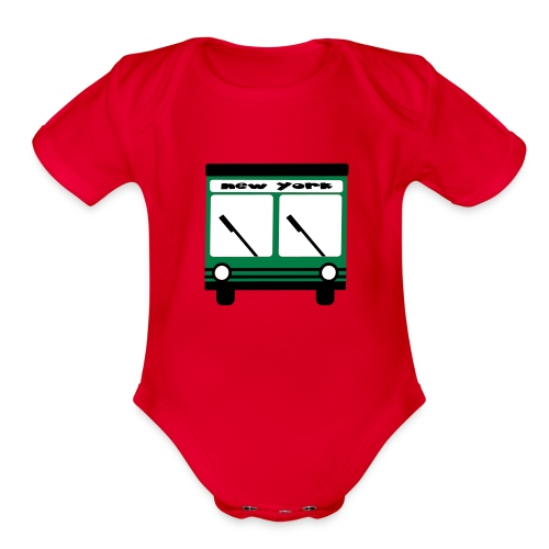 KKT 'NY Hybrid Bus, Green' Baby SS One Piece Tee, Mint Green - Organic Short Sleeve Baby Bodysuit