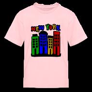 Kids' Shirts ~ Kids' T-Shirt ~ KKT 'New York Multi-Color, 4 Brownstones' Kids' Tee, Orange