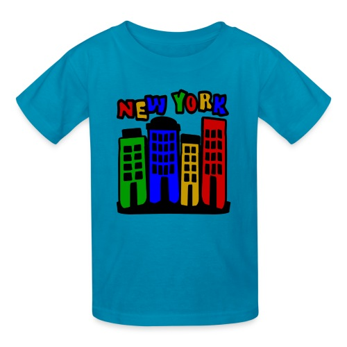 KKT 'New York Multi-Color, 4 Brownstones' Kids' Tee, Orange - Kids' T-Shirt