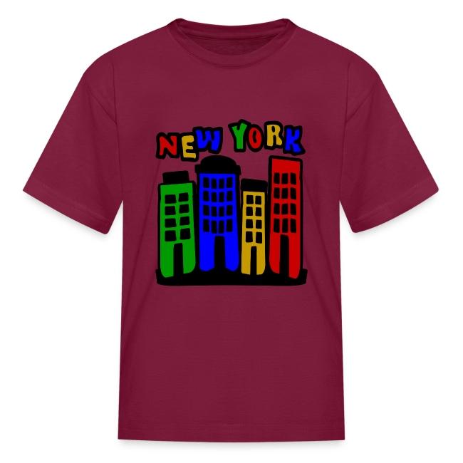 KKT 'New York Multi-Color, 4 Brownstones' Kids' Tee, Orange