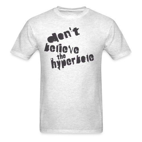 WUBT 'Don't Believe Hyperbole-DIGITAL DIRECT' Men's Tee, Brown - Men's T-Shirt