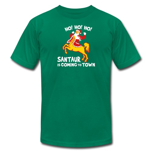 Santaur is Coming to Town Christmas Tee - Men's  Jersey T-Shirt