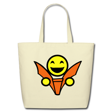 Creme smiley reading face Bags
