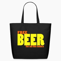 Black free beer for all the ladies pick-up tee Bags