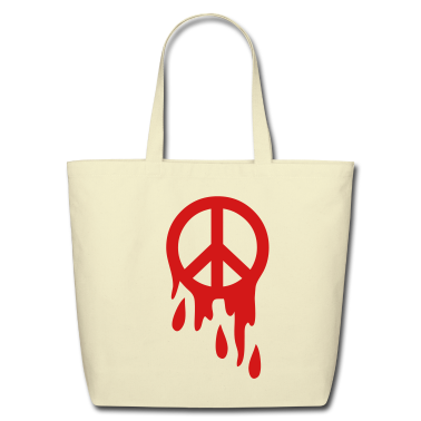 Creme peace sign dripping blood Bags
