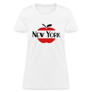 WUBT 'New York Sliced Through Apple' Women's Standard Tee, White - Women's T-Shirt