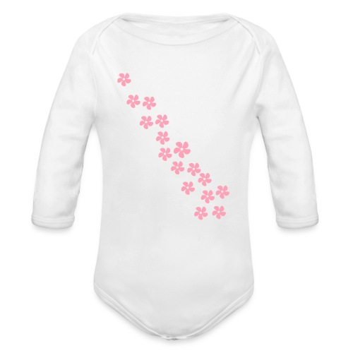 Baby One Peace with Flowers - Organic Long Sleeve Baby Bodysuit