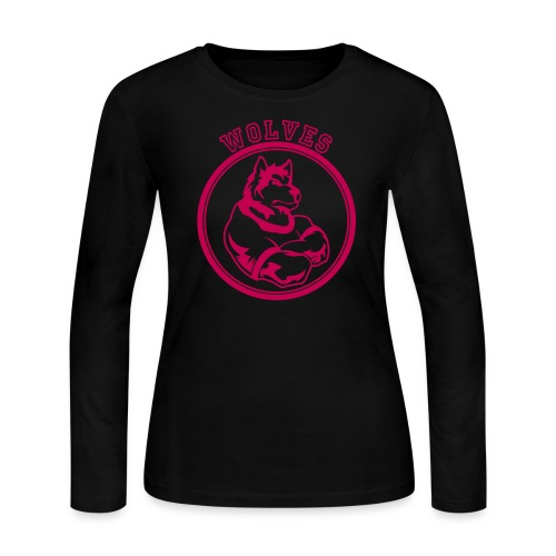 Custom Wolf or Wolves Team Graphic - Women's Long Sleeve Jersey T-Shirt