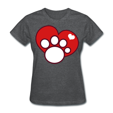 Deep heather paw and love heart Women's T-Shirts