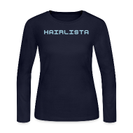 Long Sleeve Shirts ~ Women's Long Sleeve Jersey T-Shirt ~ Navy & Baby Blue Length Shirt SL +