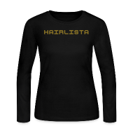 Long Sleeve Shirts ~ Women's Long Sleeve Jersey T-Shirt ~ Black & Gold Length Shirt SL +