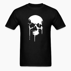 Black SKULL BLOOD SPLATTER METAL PUNK Vector T-Shirts