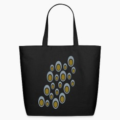 Black Random Double Ovals With Cut Outs, Large, Diagonal Bags