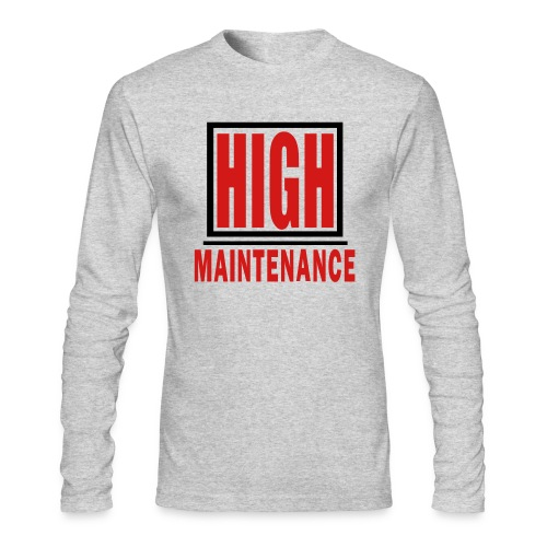 WUBT 'High Maintenance In Box' Men's AA LS Tee,Gray - Men's Long Sleeve T-Shirt by Next Level