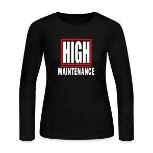 WUBT 'High Maintenance In Box' Women's LS Jersey Tee, Black - Women's Long Sleeve Jersey T-Shirt