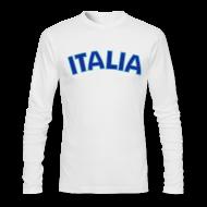 Long Sleeve Shirts ~ Men's Long Sleeve T-Shirt by American Apparel ~ ITALIA logo AA Long Sleeve T, White
