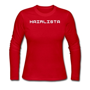 Red & White Length Shirt SL + - Women's Long Sleeve Jersey T-Shirt