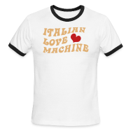 T-Shirts ~ Men's Ringer T-Shirt ~ Italian Love Machine AA Ringer T, Chocolate & Tan