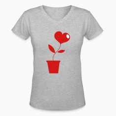 Gray Growing LOVE heart pot plant ! Women's T-Shirts