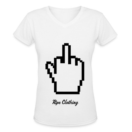 Girls Middle Finger Tee  - Women's V-Neck T-Shirt