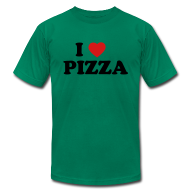 T-Shirts ~ Men's T-Shirt by American Apparel ~ I Heart Pizza AA T, Green