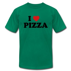 I Heart Pizza AA T, Green - Men's T-Shirt by American Apparel