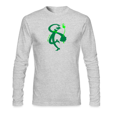 Kelly green Man with Red Rose Long Sleeve Shirts
