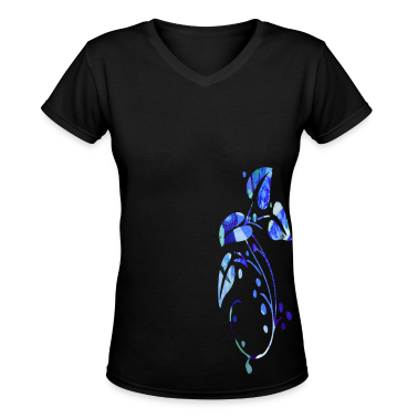 Black BLUE & PURPLE FLOWERS Women's T-Shirts