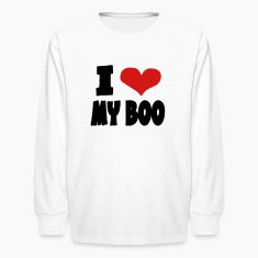 White I Heart My Boo With Unusual Red Heart Kids' Shirts