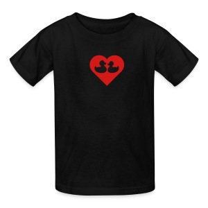 duckies of love - red on black - Kids' T-Shirt