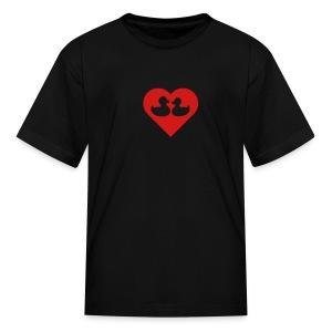 duckies of love - red on black - Kids' T-Shirt
