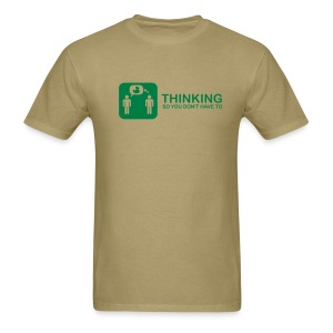 thinking - green on khaki - Men's T-Shirt