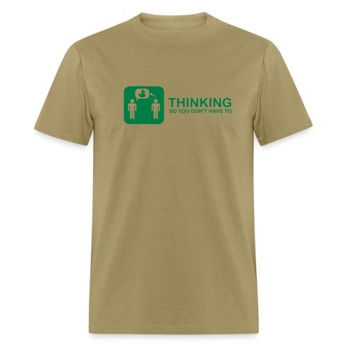thinking - green on khaki - Men's T-Shirt