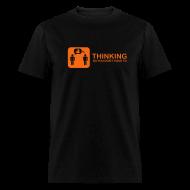 T-Shirts ~ Men's T-Shirt ~ thinking - orange on black