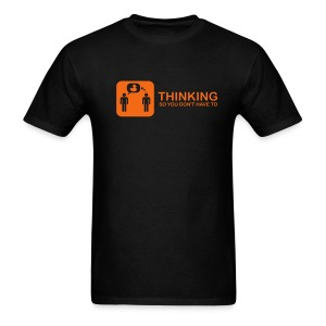 thinking - orange on black - Men's T-Shirt