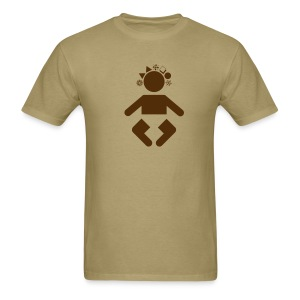 giant baby - brown on khaki - Men's T-Shirt