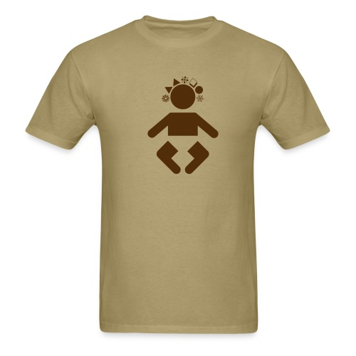 giant baby - brown on khaki - Men's T-Shirt