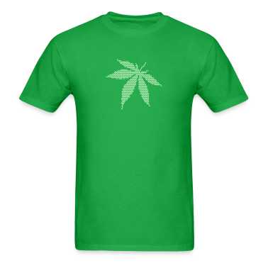 Bright green Cannabis/Marijuana Leaf (dots only) T-Shirts