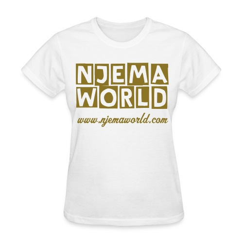 Njema World Gold Metallic Tee - White - Women's T-Shirt