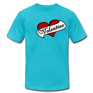 WUBT 'My Boo Heart Me' Men's AA Tee, Turquoise - Men's T-Shirt by American Apparel