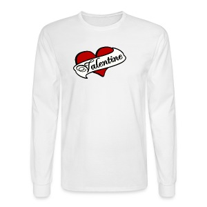 WUBT 'Valentine Tattoo Heart With Banner'--DIGITAL DIRECT, Men's LS Tee, White - Men's Long Sleeve T-Shirt